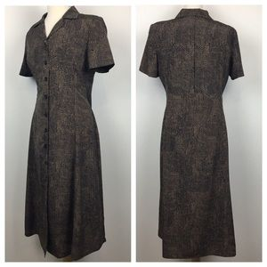 vintage 90s spotted button-up midi dress